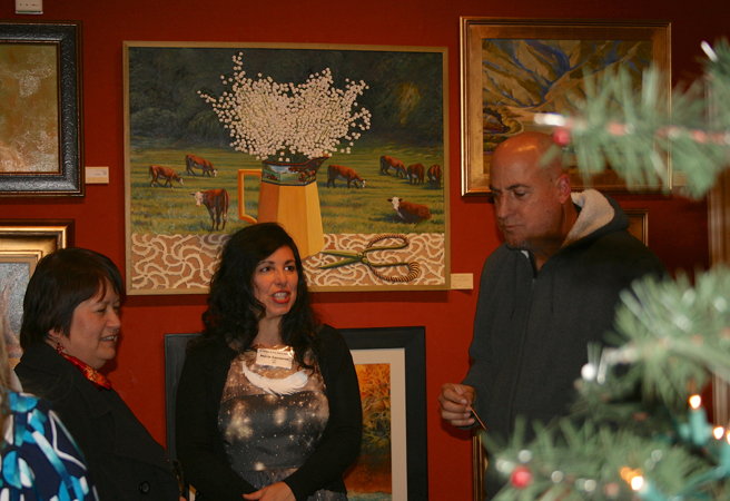 LGMG HR Marie Cameron in front of her painting with sulptor Jeff Owen and his wife chemist Terri - phonot Isaias Sandoval-Streufert 2013