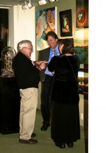 LGMG HR Painter Luke Stamos with collectors David and Carol Ann- photo Marie Cameron 2013