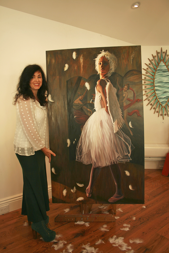 Me with Feathers in the Studio Marie Cameron 2013