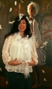 Me with feathers and Feathers Marie Cameron 2013