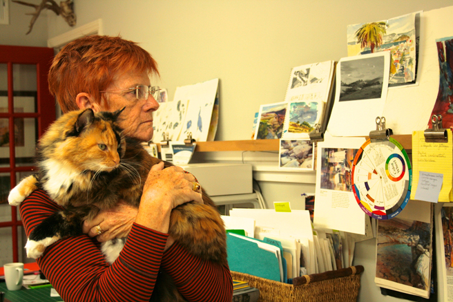 Veronica Gross and Olive in the Studio - photo Marie Cameron 2013