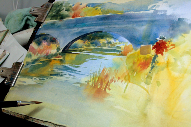 Veronica Gross's watercolor of Sam Pearson Painting - photo Marie Cameron 2013