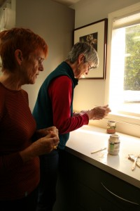 Veronica and her sister glazing tiles Veronica and Olive in the garden - photo Marie Cameron 2013