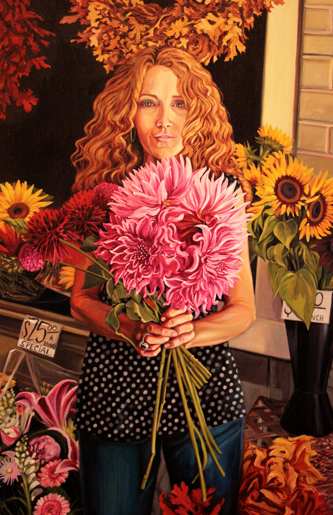 Dahlia Days - Marie Cameron - oil on canvas - 36x24in - 2014