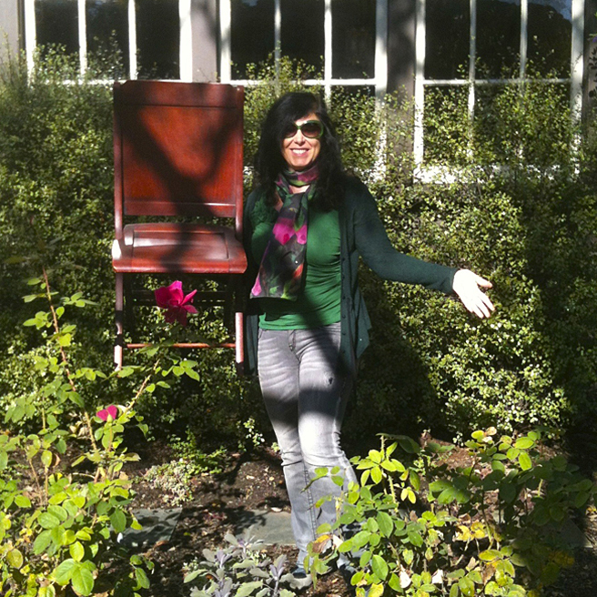 Painted Chair Project - picking my chair at the woman's Club of Palo Alto- Marie Cameron 2013