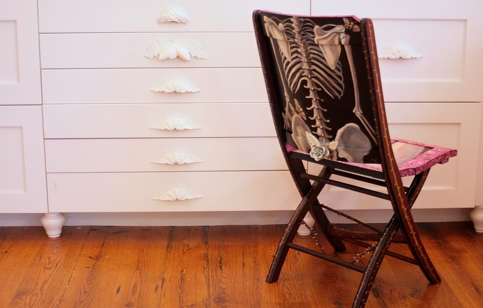 Rose Vanitas back- Painted Chair Project - Marie Cameorn 2014
