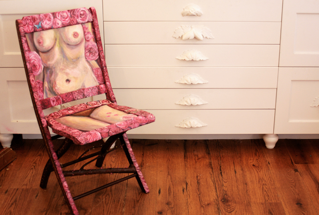 Rose Vanitas (front) for the Painted Chair Project - Marie Cameron 2014