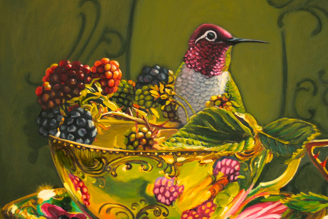 Blackberry Tea - Marie Cameron - 12x12 in - oil on board - 2014 slide