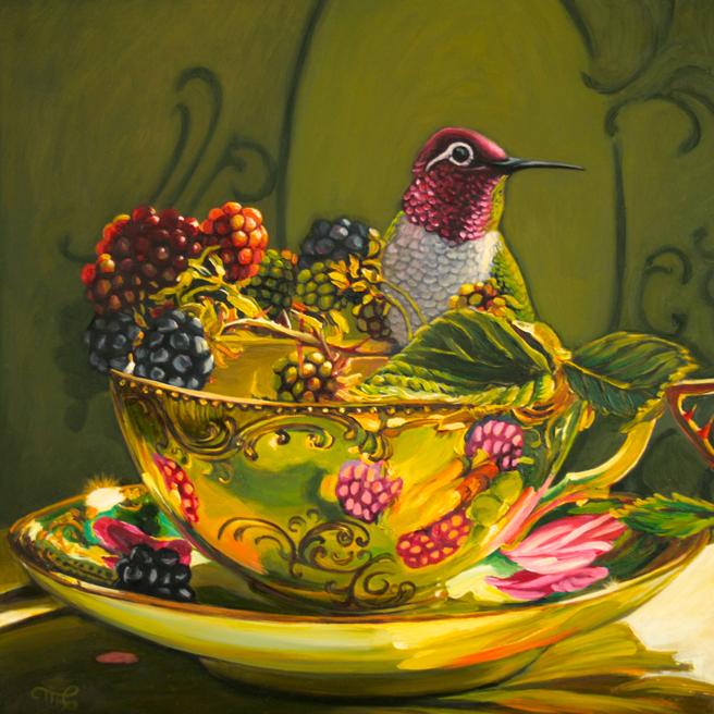 Blackberry Tea - Marie Cameron - 12x12 in - oil on board - 2014