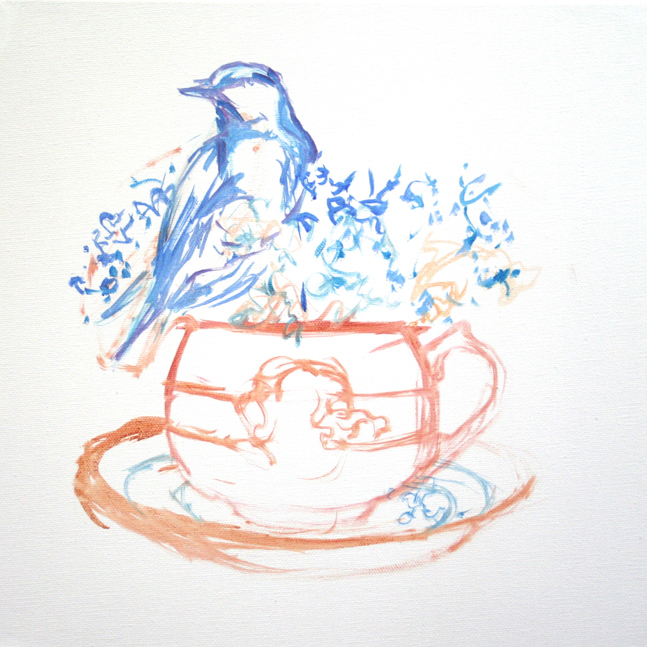 Forget Me Not Tea and Feathers WIP - Marie Cameron 2014 1