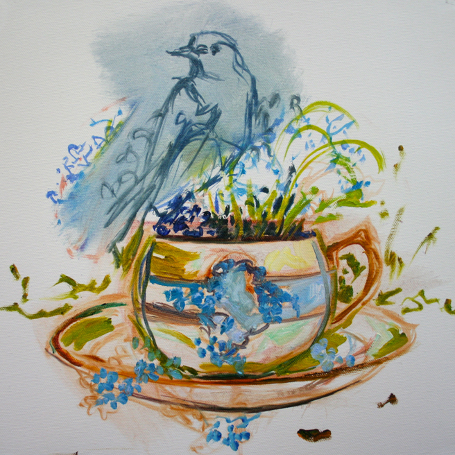 Forget Me Not Tea and Feathers WIP - Marie Cameron 2014 2