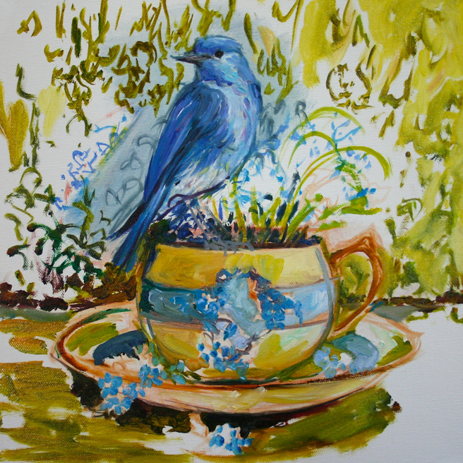 Forget Me Not Tea and Feathers WIP - Marie Cameron 2014 4