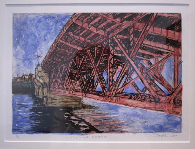 Carroll Woods  Portland Bridge  Solar plate etching and montoype