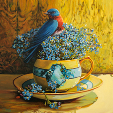 Forget-me-not Tea I - Marie Cameron oil 12x12in 2014