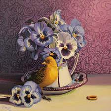 Pansy Tea I - Marie Cameron oil 12x12in 2014sm