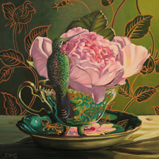 Rose Tea I - Marie Cameron oil 12x12in 2014sm