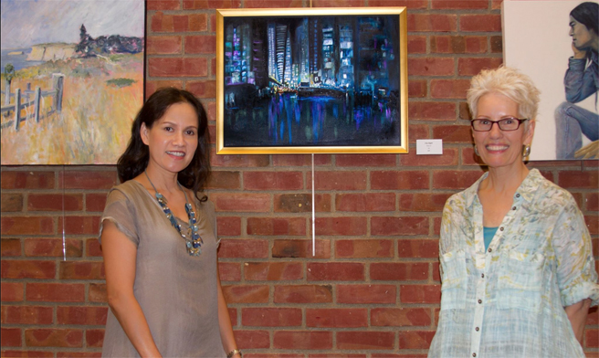 Thuy Le and her oil City Night with Rebecca Lillis White