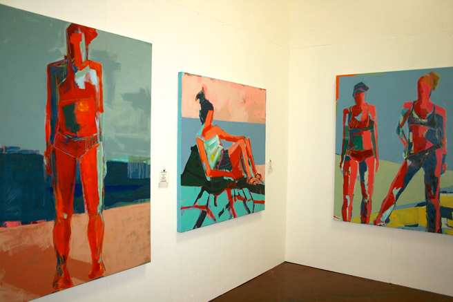 Art Partty SJ 2014 - Gail Ragains acrylic Swimmers - photo Marie Cameron