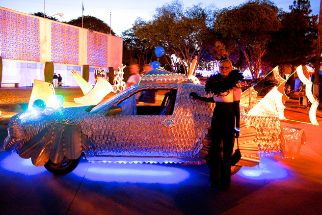 Art Party 2014 - Holly Van Hart and art car-photo by Marie Cameron