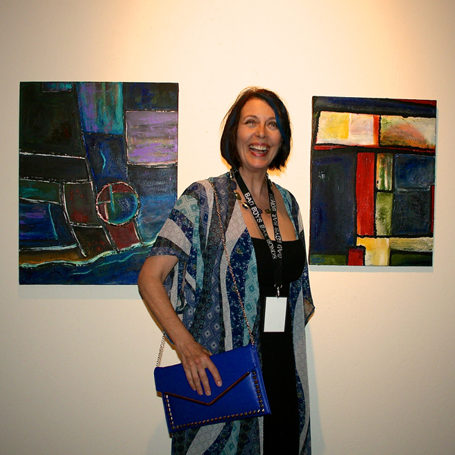 Art Party 2014 - Susan Kraft and her acrylics-photo by Marie Cameron