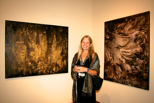 Art Party SJ 2014 -Melissa Kreisa and her metallic abstract paintings - photo Marie Cameron