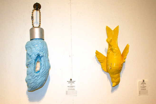 Art Party SJ 2014- Monika Vanderdool Blue Rabbit's Foot, Canary- mixed media ceramic - photo Marie Cameron