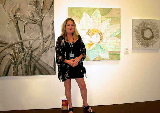Art Party SJ 2014 - Roberta Aherns and her acrlic and watercolor florals on cracked linen - photo by Marie Cameron