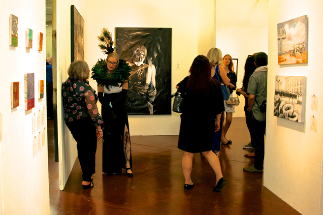 Art Party SJ 2014 - mixed media painting by George Rivera (center) - photo Marie Cameron