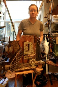 Jenifer J. Renzel and her assemblage - photo Marie Cameron