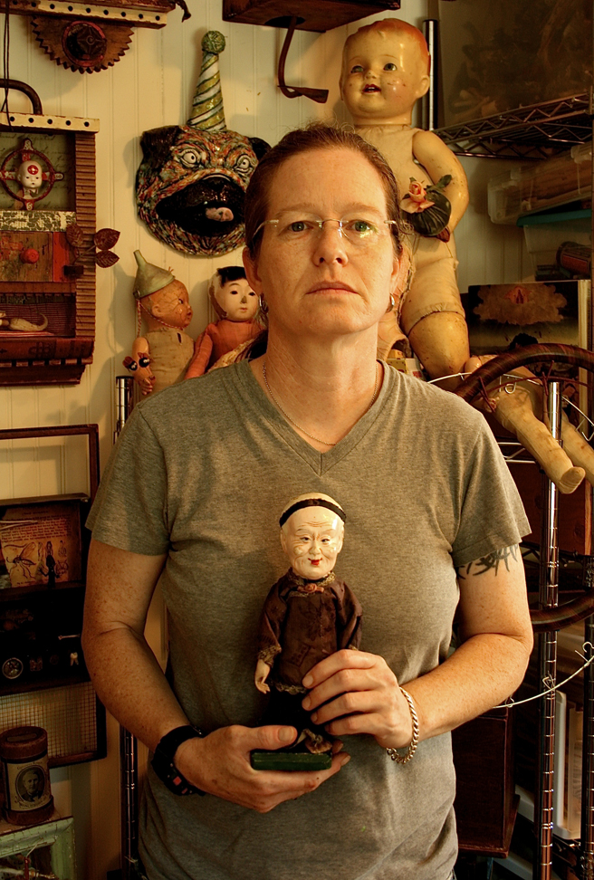 Jenifer J. Renzel asslembage and antique dolls - photo Marie Cameron