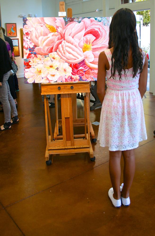 PAL Grand Opening Reception 9:14 - viewing Nancy Wong's Peonies Acrylic