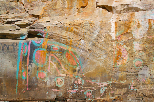 Day-tripping Colorful Graffiti Shark's Tooth Cove, Davenport - photo Marie Cameron 2014
