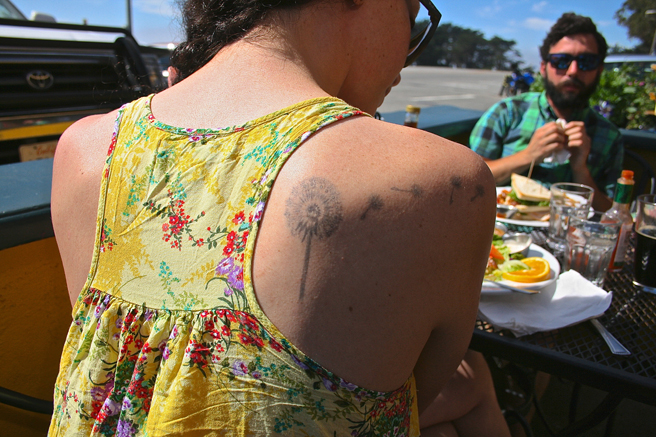 Day-tripping Dandelion Tattoo - Whale City Bakery, Davenport- photo Marie Cameron 2014