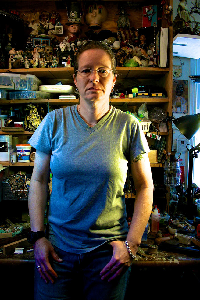 Jenifer J Renzel in her studio - photo by Marie Cameron 2014