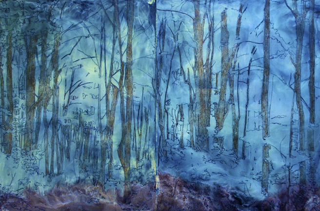 PAL Land, Sea and Urbanscapes 10-14 -Janet Bartlet Goodman PAL instructor), Down The Road, Encaustic