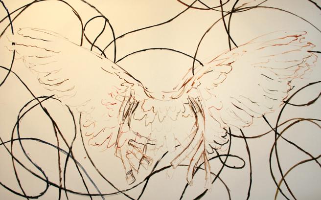 Training wings - WIP - oil Marie Cameron 2014
