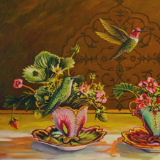 Strawberry Demitasse Trio - Marie Cameron - 12in x 24in oil on canvas- 2015 sm