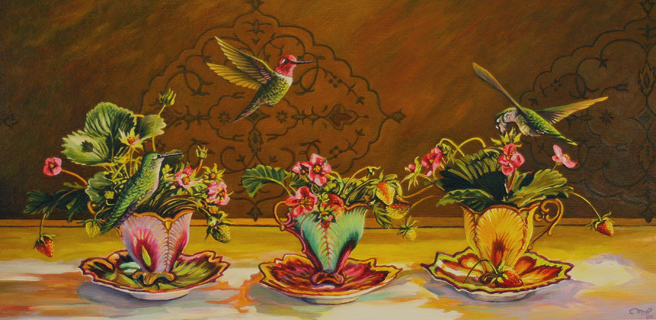 Strawberry Demitasse Trio - Marie Cameron - 12in x 24in oil on canvas- 2015