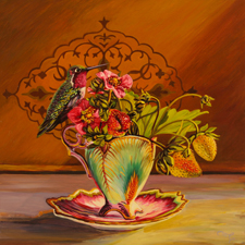 Strawberry Tea I - Maire Cameron - Oil on Board, 12 x12 in 2015 sm