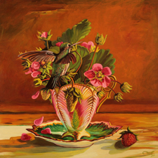 Strawberry Tea II - Maire Cameron - Oil on Board, 12 x12 in 2015 sm