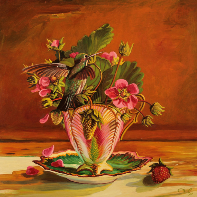 Strawberry Tea II - Maire Cameron - Oil on Board, 12 x12 in 2015