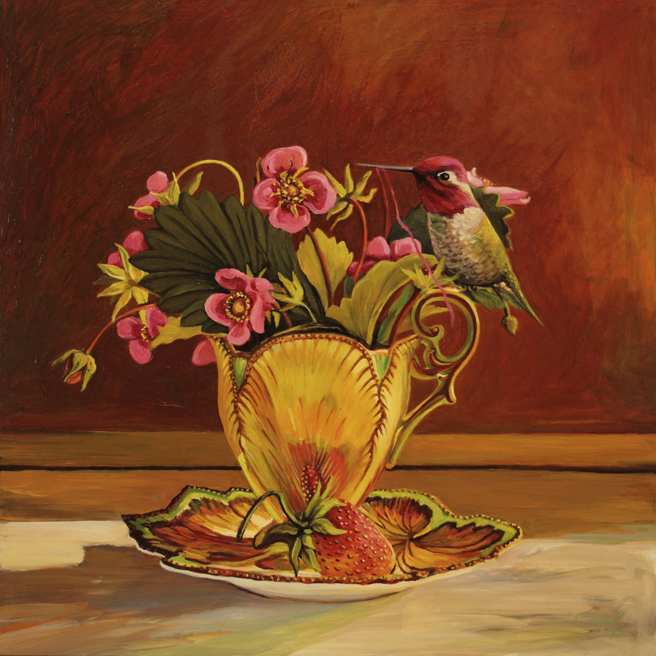 Strawberry Tea III - Marie Cameron - Oil on Board - 12x12in  2015