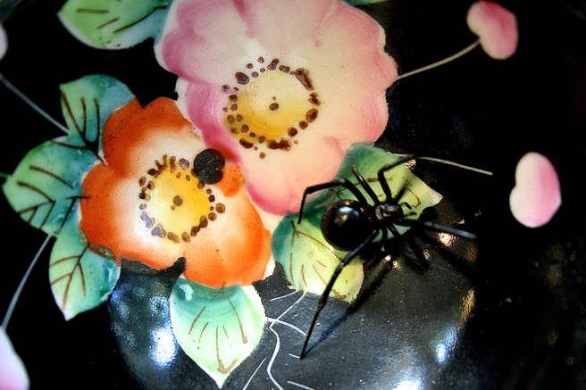 Black Widow on Teacup Roses II Photograph - Marie Cameron 2015
