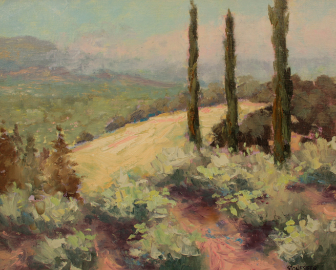 Plein Air 2015 - David Stonesifer, View of LG from Olive Grove - photo Marie Cameron 2015