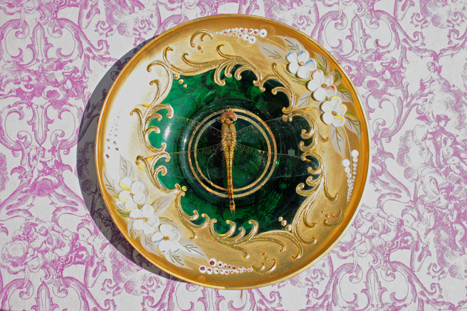 Dragonfly and Bohemian Demitasse Saucer Overview - photo Marie Cameron 2015