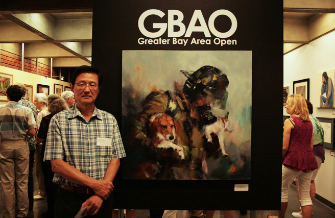GBAO - Vincent Liu- Firefighter with Dogs - Oil - NUMU -2015