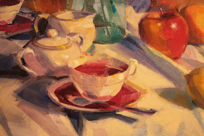 LGMG - Champagne and Chocolate 2015- A.d. Ballantyne - Mother's Teacup - oil - detail