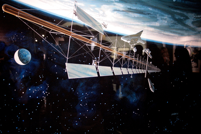 Rick Guidice- NUMU - The NASA Paintings - painting detail 1977 Mass Driver With Solar Power Station- photo Marie Cameron 2015