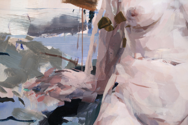 Alex Kanevsky - M.S.S. (detail) -36x36 inches, oil on wood - Unstable Equilibrium - Dolby Chadwick - photo Marie Cameron 2015