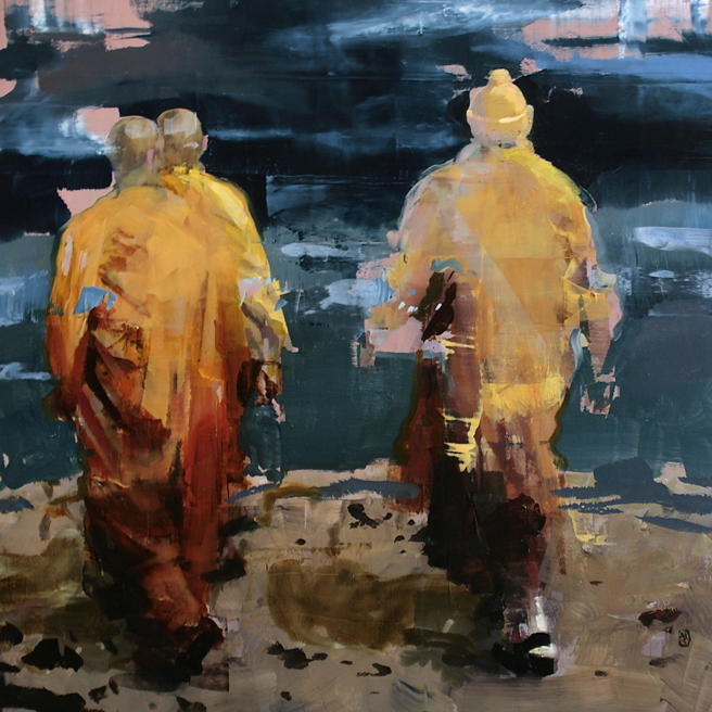 Alex Kanevsky -  Monks at Sea - 18x18 inches, oil on wood - Unstable Equilibrium - Dolby Chadwick - photo Marie Cameron 2015